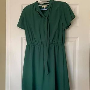 Hunter Green Mini Dress with tie front